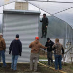 Picture of several men installing a high tunnel greenhouse